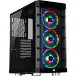 image produit Corsair iCUE 465X RGB Boîtier gaming Moyen-Tour ATX en Verre Trempé (Panneaux Avant et latéral en Verre Trempé, Trois ventilateurs LL120 RGB inclus, Diverses Options de Refroidissement) - Noir