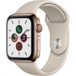 image produit Apple Watch Series 5 (GPS + Cellular, 44 mm) Boîtier en Acier Inoxydable Or - Bracelet Sport Gris sable