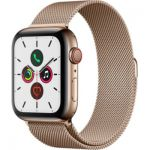 image produit Apple Watch Series 5 (GPS+Cellular, 44 mm) Boîtier en Acier Inoxydable Or - Bracelet Milanais Or