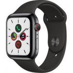 image produit Apple Watch Series 5 (GPS+Cellular, 44 mm) Boîtier en Acier Inoxydable Noir Sidéral - Bracelet Sport Noir