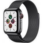 image produit Apple Watch Series 5 (GPS+Cellular, 44 mm) Boîtier en Acier Inoxydable Noir Sidéral - Bracelet Milanais Noir Sidéral