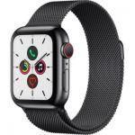 image produit Apple Watch Series 5 (GPS+Cellular, 40 mm) Boîtier en Acier Inoxydable Noir Sidéral - Bracelet Milanais Noir Sidéral