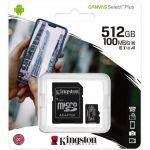 image produit Kingston Canvas Select Plus Carte MIcro SD SDCS2/512GB Class 10 + Adaptateur inclus - livrable en France