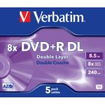 image produit DVD vierge Verbatim DVD+R Double 8.5GO 5PK Double layer 8x