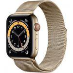 image produit AppleWatch Series6 (GPS+Cellular, 40 mm) Boîtier en acier inoxydable or, Bracelet Milanais or