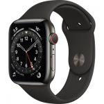 image produit AppleWatch Series6 (GPS+ Cellular, 44 mm) Boîtier en acier inoxydable graphite, Bracelet Sport noir