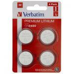 image produit VERBATIM Premium Piles Boutons au Lithium CR2450 Lot de 4 3V 580 mAh - Piles au Lithium pour Horloge, clé de Voiture, télécommande, Appareil Photo, Jouets et Autres - Pile Bouton au Lithium