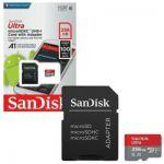 SanDisk Carte Mémoire MicroSDHC Ultra 256 Go + Adaptateur SD, Vitesse de Lecture Allant Jusqu'à 100MB/S, Classe 10, U1, Homologuée A1