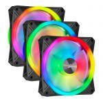 image produit Corsair iCUE QL120 RGB, Ventilateur LED RGB PWM 120 mm (102 LED RGB Paramétrables Individuellement, Allant jusqu'à 1 500 TR/Min, Faible Bruit) Lot de Trois Ventilateurs avec Lighting Node CORE - Noir - livrable en France