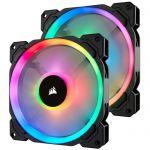 image produit Corsair LL140 RGB, Ventilateur de Boitier Dual Light Loop RGB LED PWM 140mm avec Lighting Node et Hub (Double Pack)