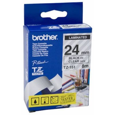 image produit Brother TZE151 Ruban 24 mm Noir/Transparent - livrable en France