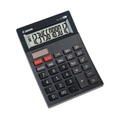 image CANON Calculatrice de bureau AS-120 - 12 chiffres - Panneau solaire, pile - Gris foncé