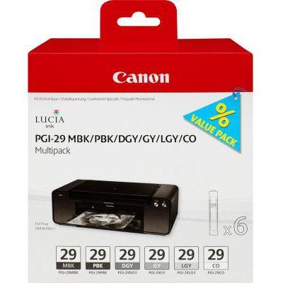 image Canon PGI-29 Cartouches MBK/PBK/DGY/GY/LGY/CO Multipack Noire Mat, Photo Noir, Gris Foncé, Gris, Gris Clair, Chroma Optimizer (Multipack plastique)