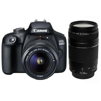 image Canon EOS 4000D + 18-55 DC + 75-300 DC Boîtier d'appareil-Photo SLR 18 MP 5184 x 3456 Pixels Noir - Appareils Photos numériques (18 MP, 5184 x 3456 Pixels, Full HD, 436 g, Noir)