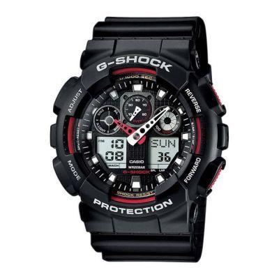 image Casio G-SHOCK Homme Analogique-Digital Quartz Montre avec Bracelet en Résine GA-100-1A4ER