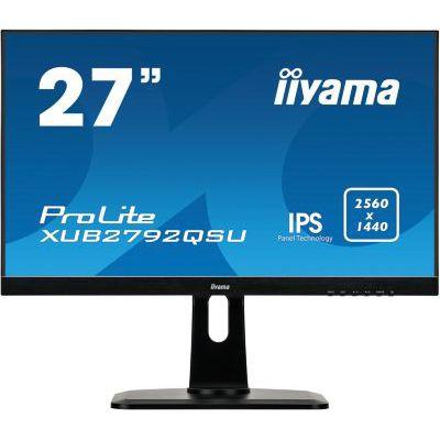 "image iiyama ProLite XUB2792QSUB1 écran LED 27"" IPS WQHD VGA/DP/HDMI Hub USB Pied réglable en hauteur Multimédia Châssis Slim Noir"