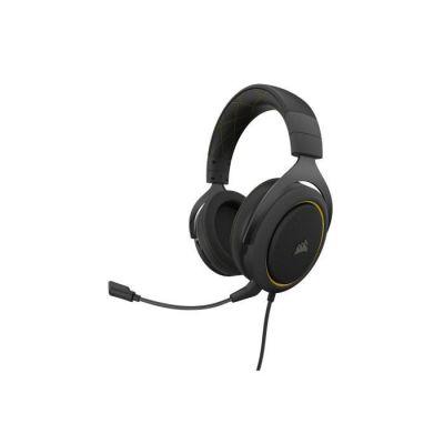 image Corsair HS60 PRO Surround Casque de Gaming Son surround 7.1, Mémoire ajustables Oreillettes, Unidirectionnel Antibruit Microphone avec PC, PS4, Xbox One, Switch et mobiles Compatibilité - Jaune