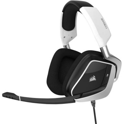 image Corsair CA-9011204-EU VOID ELITE RGB USB Casque de Gaming Son surround 7.1, Microphone omnidirectionnel optimisé, Customisable Éclairage RGB, Maille microfibre coussinets, Armature aluminium Blanc