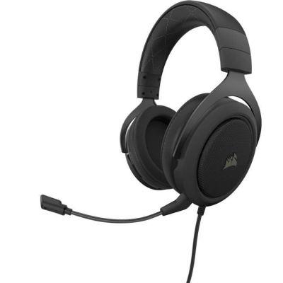 image Corsair HS60 PRO Surround Casque de Gaming Son surround 7.1, Mémoire ajustables Oreillettes, Unidirectionnel Antibruit Microphone avec PC, PS4, Xbox One, Switch et mobiles Compatibilité - Noir