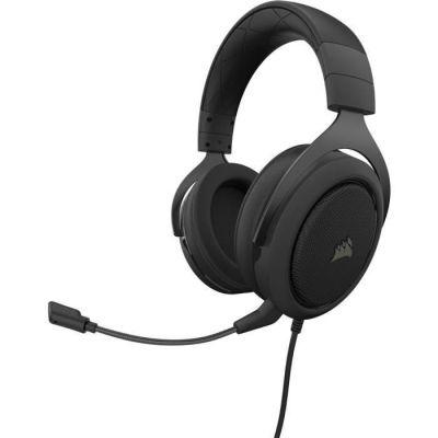 image Corsair HS50 PRO Stereo Casque de Gaming Mousse à mémoire ajustables Oreillettes, Unidirectionnel Antibruit amovible Microphone - carbone