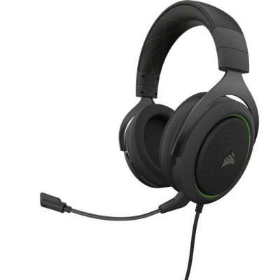 image Corsair HS50 PRO Stereo Casque de Gaming Mousse à mémoire ajustables Oreillettes, Unidirectionnel Antibruit amovible Microphone - vert