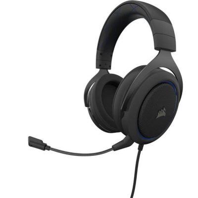 image Corsair HS50 PRO Stereo Casque de Gaming Mousse à mémoire ajustables Oreillettes, Unidirectionnel Antibruit amovible Microphone - bleu