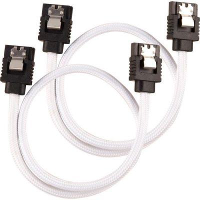 image Câble SATA gainé CORSAIR Premium - SATA 6Gbps 30 cm, blanc