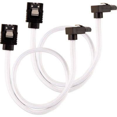 image Câble SATA gainé CORSAIR Premium - SATA 6Gbps 30 cm, connecteur à 90°, blanc