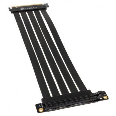 image Corsair Premium PCIe 3.0 x16 Câble d'extension, 300mm (Protection contre les Interférences Électromagnétiques, Entièrement Flexible, Le bon angle) - Noir