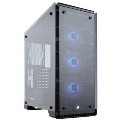 image Corsair Crystal 570X RGB Boîtier PC Gaming (Moyenne Tour ATX avec Fenêtre en Verre Trempé avec trois SP120 RGB Ventilateur) Noir
