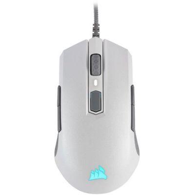 image Corsair M55 PRO RGB, Ambidextre D'adhérence Multiples Optique Souris Gaming (12400DPI Optique Capteur, Légère, 8 Boutons Programmables, Rétroéclairage LED RGB) - Blanc