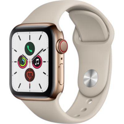 image Apple Watch Series 5 (GPS+Cellular, 40 mm) Boîtier en Acier Inoxydable Or - Bracelet Sport Gris sable