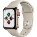 image produit Apple Watch Series 5 (GPS + Cellular, 40 mm) Boîtier en Acier Inoxydable Or - Bracelet Sport Gris sable