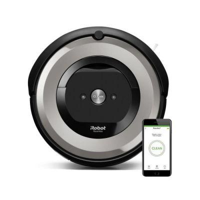 image iRobot Roomba e5154, aspirateur robot, idéal pour les animaux, 2 brosses anti-emmêlement en caoutchouc, forte puissance d'aspiration, aspire les poils d'animaux sans rester emmêlé dans les tapis