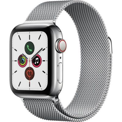 image Apple Watch Series 5 (GPS+Cellular, 40 mm) Boîtier en Acier Inoxydable - Bracelet Milanais