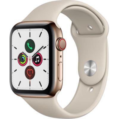 image Apple Watch Series 5 (GPS+Cellular, 44 mm) Boîtier en Acier Inoxydable Or - Bracelet Sport Gris sable