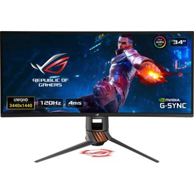 "image ASUS ROG PG349Q - Ecran PC gaming eSport 34"" UWQHD - Dalle IPS incurvée 1900R - 120Hz - 3440 x 1440 - 300cd/m² - Display Port, HDMI et 4x USB 3.0 - Nvidia G-Sync - AuraSync"