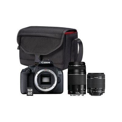 image Appareil photo Reflex Canon EOS 2000D+EF-S 18-55 IS II+EF 75-300 f/4-5,6 III + Sac + Carte mémoire SD 16 Go