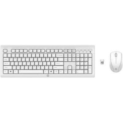 image HP C2710 Combo Clavier AZERTY et Souris Sans Fil (Récepteur USB, Compatibles avec Windows XP, Windows Vista, Windows 7, Windows 8 et Windows 10) - Blanc