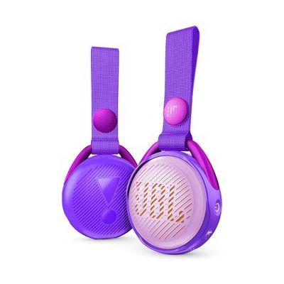 image JR POP JBL - Enceinte Portable pour Enfants - Bluetooth & Waterproof - Avec Modes Lumineux Multicolores & Autocollants - Autonomie 5 hrs - Bluetooth, Violet