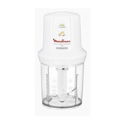 image Moulinex DJ300110 Mini Hachoir Electrique Moulinette Compact avec Couvercle Saupoudreur Blanc 270 W