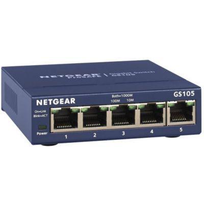 image NETGEAR (GS105) Switch Ethernet 5 Ports RJ45 Métal Gigabit (10/100/1000), pour une Connectivité Simple et Abordable, Protection ProSAFE, Garantie à Vie Idéal pour les PME et TPE