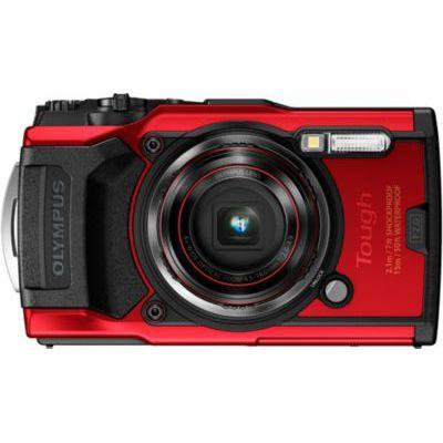 image Olympus Tough TG-6 Action Camera, 12 Mégapixels, Rouge & MegaGear MG794 Étui avec Mousqueton en Néoprène pour Appareil Photo Olympus Tough TG-6, TG-5, TG-4/TG-870, TG-860- Rouge