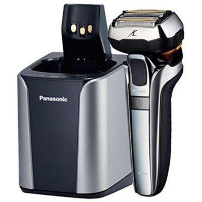 image Panasonic ES-LV9Q Rasoir électrique haut de gamme pour homme doté de 5 lames, d'une tête 5D Multi-Flex, Wet/Dry, fonction Smart Lock, Capteurs de barbe, Station de charge, métallique & noir