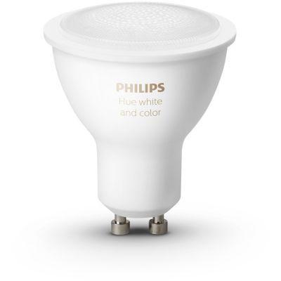 image Philips Hue 2 Ampoules LED Connectée White & Color Ambiance GU10 Compatible Bluetooth, Fonctionne avec Alexa + Philips Hue Dim Switch Télécommande nomade variateur de lumière
