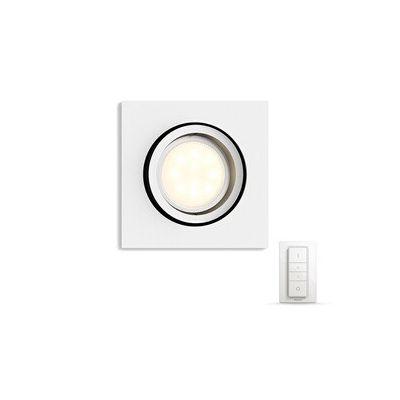 image Philips Hue Luminaire télécommandé Spot encastré MILLISKIN Carré Blanc + Dim Switch télécommande Hue variateur de lumière - Fonctionne avec Alexa