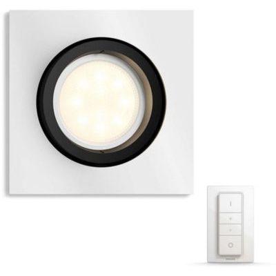 image Philips Hue Luminaire télécommandé Spot encastré MILLISKIN Carré Chrome + Dim Switch télécommande Hue variateur de lumière - Fonctionne avec Alexa