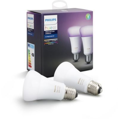 image Philips Hue Pack de 2 Ampoules LED Connectées White & Color Ambiance E27 Compatible Bluetooth, Fonctionne avec Alexa + Smart Button Bouton Télécommande Connecté