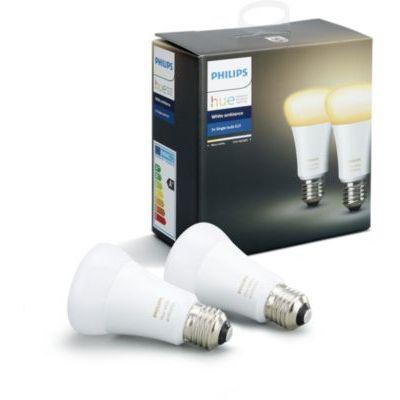 image Philips Hue Ampoules LED Connectées White Ambiance E27 Compatible Bluetooth, Fonctionne avec Alexa Pack de 2