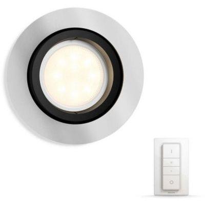 image Philips Hue Luminaire télécommandé Spot encastré MILLISKIN Rond Chrome + Dim Switch télécommande Hue variateur de lumière - Fonctionne avec Alexa